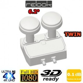 LNB Monobloc 6,2° Twin 0,1dB - Relook RE-TM680 - Compatible HDTV 3D et 4K - 5 ans de garantie