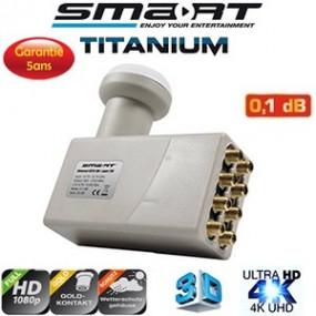 LNB Octo 0.1 dB - 40 mm - Fiche F plaqué or - Smart Titanium Eco TEO - HDTV 4K - 5 ans de garantie