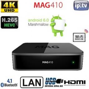 Décodeur MAG 410 Android IPTV/OTT - Compatible HEVC H.256 - UltraHD 4K - HDMI -  Bluetooth 4.1 - 3x USB - Wi-Fi intégré