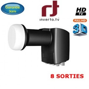 LNB OCTO 0,2 dB - 8 Sorties - 40mm - Compatible HDTV - 3 ans de garantie - Inverto Black pro